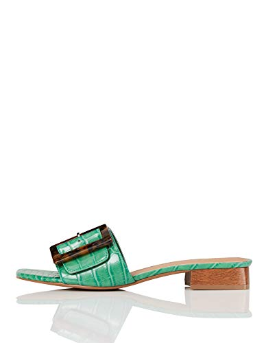 Marca Amazon - FIND Low Heel Large Buckle Mule Mules, Verde (Green Croc), 37 EU