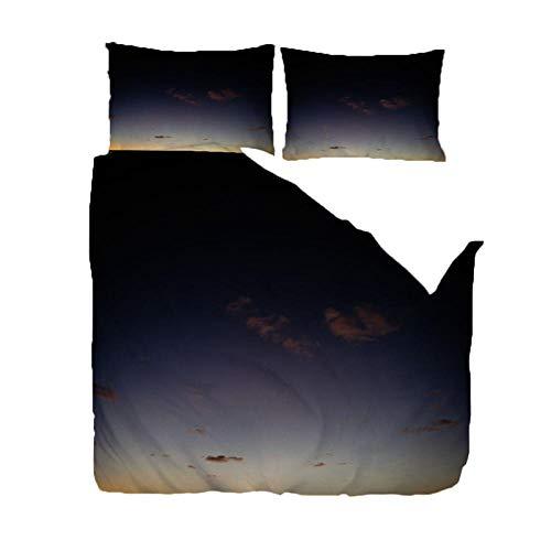 RGBVVM Funda de Nórdica 140 x 200 cm Cielo de Noche Negro Juego de Funda nórdica de Microfibra Ligera de Microfibra con Cierre de Cremallera + 2 Fundas de Almohada 50x75cm