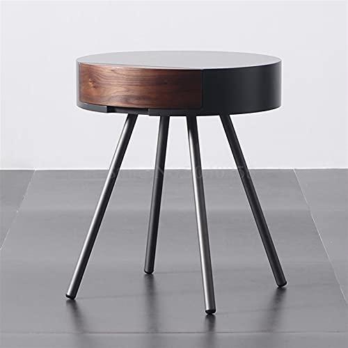 NICEDINING Nordic walnoot kleur salontafel minimalistische woonkamer bank zijkast ronde nachtkastje cafe creatieve ronde tafel (Kleur: zwart)