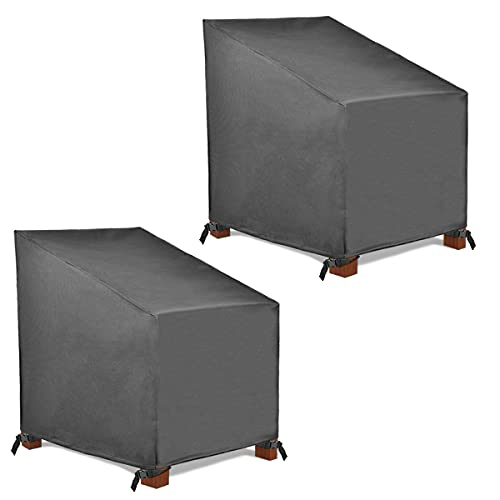 Patio Watcher 2 High Back Patio Chair Cover, Durable and Waterproof Outdoor Furniture Chair Cover, Grey