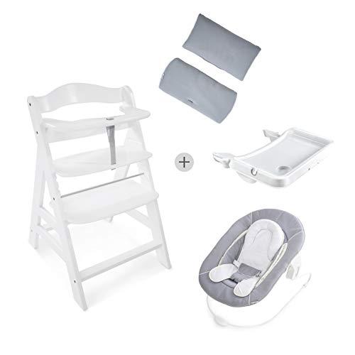 Hauck Newborn Set (4 Teilig): Alpha Hochstuhl, weiß + Babywippe(Ohne Motiv) in grau ab Geburt nutzbar + Essbrett, weiß + Hochstuhlauflage Deluxe, hellgrau