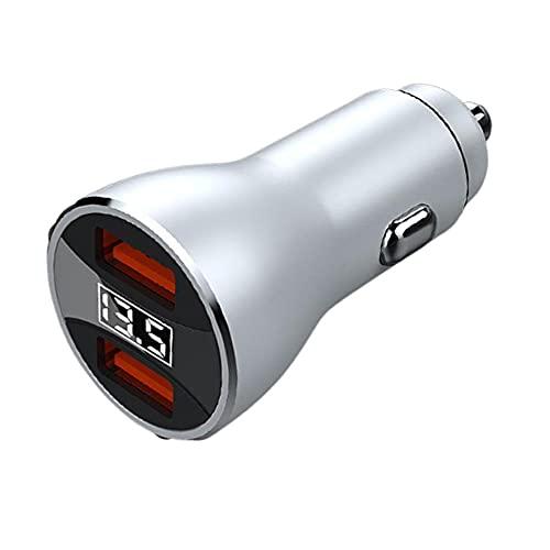 CARMAE Adaptador de cargador de coche QC 3.0 doble puerto USB cargador de coche todo metal mini encendedor de cigarrillos adaptador USB 36V con pantalla LED en la carga del teléfono del coche