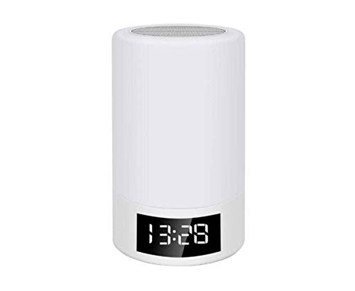 FAGavin Bluetooth Inalámbrico Tarjeta De Altavoz Radio FM Reloj Despertador Atenuación Táctil Lámpara De Mesa Creativa Luz Colorida Noche Luz De Noche