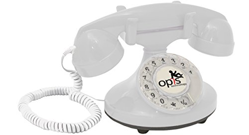 OPIS FunkyFon cable: Rotary dial disc retro telephone in the sinuous style of the 1920s with modern electronic bell (white)