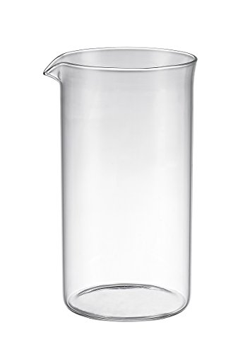 """Bruntmor Universal Replacement beaker Spare Heat & Shock resistant Borosilicate Glass Carafe for French Press Coffee Maker, 8-cup, 34-ounce 4"""" Diameter"""