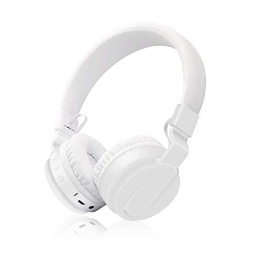 XHN Cuffie con eliminazione del Rumore, Cuffie Bluetooth cablate/Wireless con Microfono, Monodeal Pieghevole sull'auricolare con Bassi Profondi-White