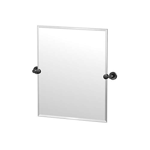 Gatco Glam Frameless Rectangle Mirror, 24 Inch, Matte Black