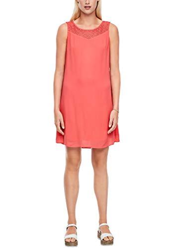 s.Oliver Damen Crêpe-Kleid mit Spitzenpasse coral 36