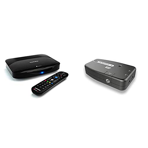 Manhattan T3-R Freeview Play 4K Smart Recorder 500GB & Signal Booster, SLx TV Two Output Amplifier 27822HSR With Integrated 4G Filter - Improve Picture Quality And Channel Reception -Grey