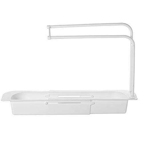 qizhangUS - Cesta de drenaje ajustable para fregadero de cocina, estante de almacenamiento para frutas (blanco)