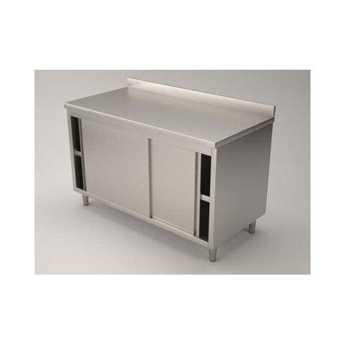 Tavolo 140x60x85 acciaio inox 430 armadiato alzatina ristorante pizzeria RS4415