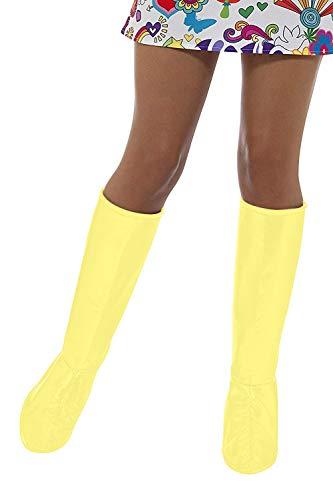 Smiffys Damen GoGo Stiefel Überzieher, One Size, Gelb, 48045