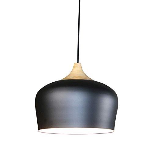 HTL Luces Colgantes de Madera Industria Retro Metal Negro Techo Colgante Luz Mesa de Comedor Araña Lámpara Redonda E27 × 1 Habitación Corredorloft Altura Ajustable Lámpara de Estar