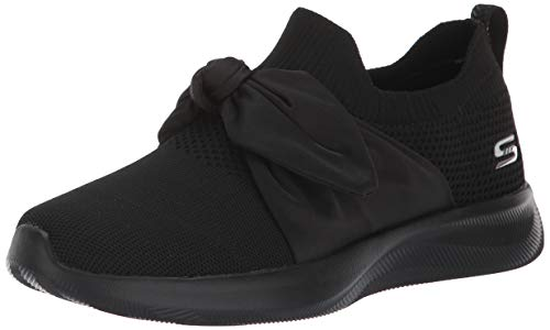 BOBS from Skechers Women's Bobs Squad 2 - bow overlay slip on engineered knit sneaker w memory foam Shoe, bbk, 8 M US