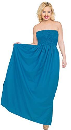 LA LEELA Women's Halter Neck Simple Slim Empire Waist Long Maxi Dress L-XL Blue_U515