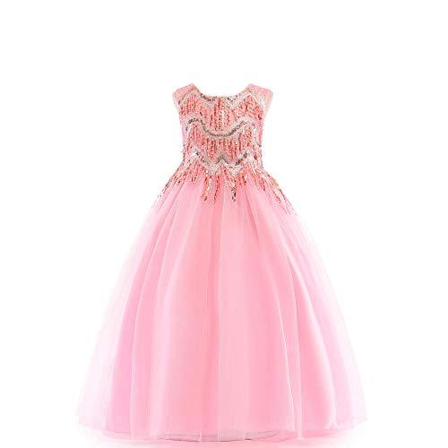 Romon Girls Bow Princess Dress Vestido Maxi de Gasa con Lentejuelas con Flecos Disfraces de Navidad de Halloween (3~8 años)
