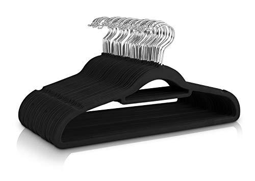 Utopia Home 50 Stuck Premium Kleiderbügel Samt - Kleiderbügel für Hemd, Kleid, Anzug, Jacke, Träger - rutschfest - Schwarz