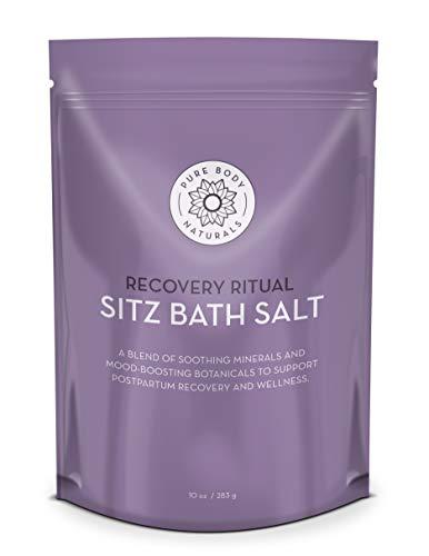 Sitz Bath Salt – Postpartum Care and Hemorrhoid Treatment – Natural Sitz Bath Soak with Epsom Salt, Dead Sea Salt, Essential Oil for Self Care and Hemmoroid Treatment, 10 ounces by Pure Body Naturals