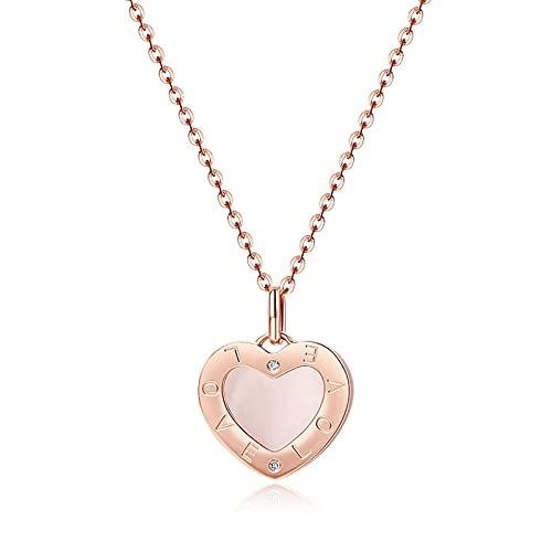 YJZW Collar De Mujer De Oro Rosa De 18 Quilates – Colgante De Corazón