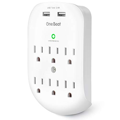 6-Outlet Surge Protector, Wall Outlet Extender Multi Plug Outlet Wall Adapter with 2 USB Charging Ports 2.4 A, 490 Joules, ETL Listed for Home, School, Office