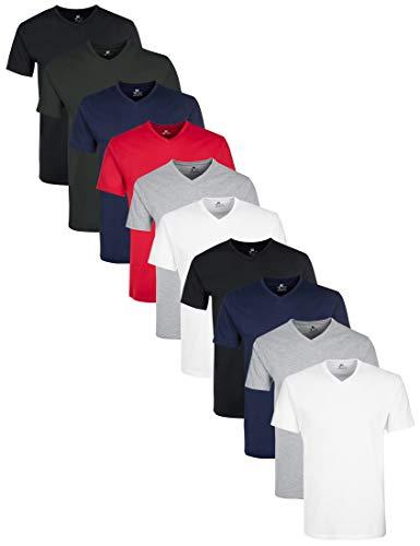 Lower East mit mit V-Ausschnitt T-Shirt, Mehrfarbig Schwarz/Grün/Navy/Rot/Grau Melange/Weiß), Small (Herstellergröße: S), 10er-Pack