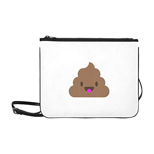 WYYWCY Nettes lächelndes glückliches lustiges Poop-Muster-Gewohnheits-hochwertiges dünnes Nylon-Handtasche Kreuzkörperbeutel-Umhängetasche