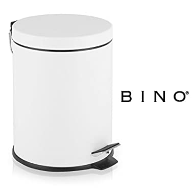 BINO Stainless Steel 1.3 Gallon / 5 Liter Round Step Trash Can, Matte White
