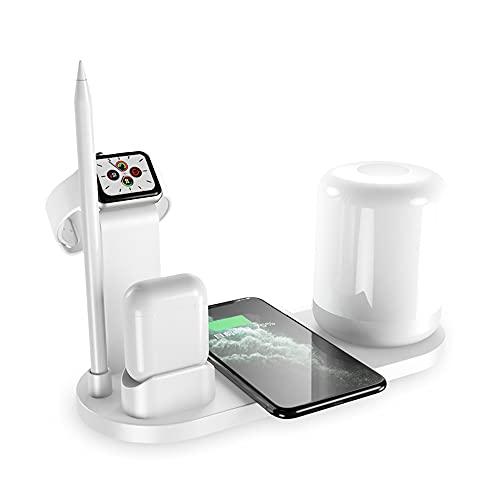 LSJZZ Lámpara De Escritorio - Cargador Inalámbrico De Dispositivos Múltiples con Puerto USB/Oficina para El Hogar/Ojo De Noche Luz Regulable para iPhone/Android/Iwatch Y Airpods