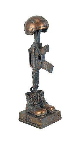 Napco Military Soldier Battle Cross Patina 11.75 Inch Resin Decorative Indoor Outdoor Garden Statue