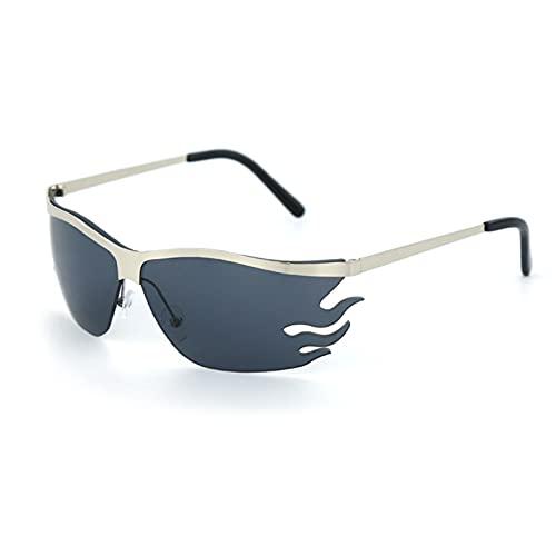 Vintage Fire fiorde Occhiali da Sole Uomini Donne Moda Senza montature Occhiali da Sole Occhiali da Sole retrò Metallo Punk Occhiali da Vetro Sfumature UV400. Oculos Uomo (Color : 1, Size : F)