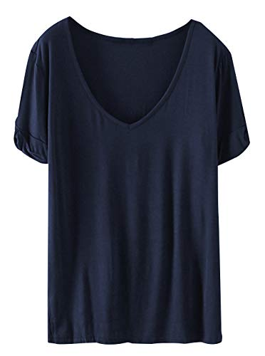 SheIn Women's Summer Short Sleeve Loose Casual Tee T-Shirt Navy#1 X-Large