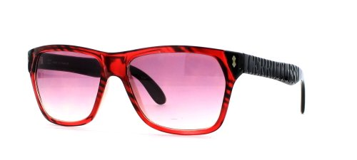 Cerruti 3003 RTN Sonnenbrille für Damen und Herren, quadratisch, Schwarz / Rot