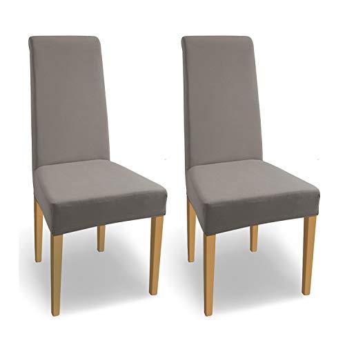 SCHEFFLER-Home Housse de Chaise élastique « Natalie » en Coton élastique / Lot de 2 / Taupe / Couverture Stretch / revêtement pour chaises et sièges
