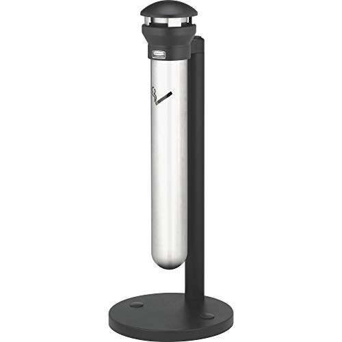 Rubbermaid Commercial Products Infinity Stand Alone Smoking Receptacle - Stainless Steel/Black