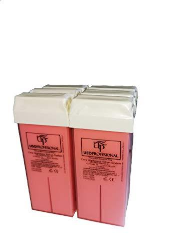 6 Cartuchos Roll-Ons de Cera Depilatoria Tibia de 100ml/ud color rosa para Depilación con Bandas Depilatorias