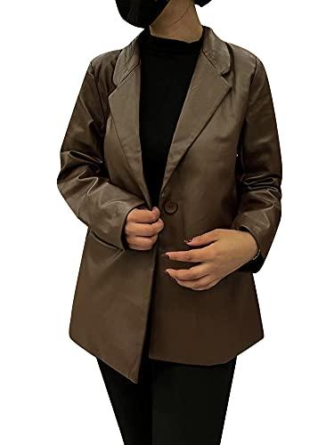 MIEAHORY Chaqueta de cuero para mujer, botón de manga larga solapa de cuero chaqueta de trabajo de oficina de Shacket abrigo suelto, marrón, 48