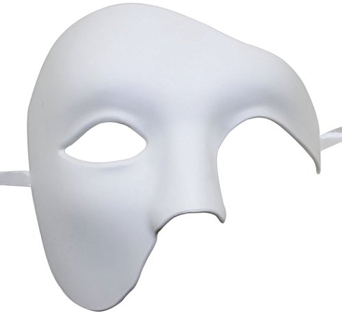 Coxeer Phantom of The Opera Mask DIY White Mask Half Face Venetian Masquerade Mask for Halloween Mardi Gras