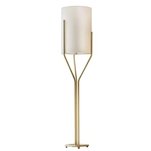 ZRABCD Gold LED Stehleuchte Leinwand Stoff Schatten Moderne Stehleuchte LED Beleuchtung Wohnzimmer Wohnzimmer Arbeitszimmer Sofa Seite Büroleuchte,115cm