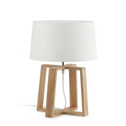 Faro Barcelona Bliss 28401 Lampe de chevet en bois et métal avec écran en tissu, 60 W Blanc