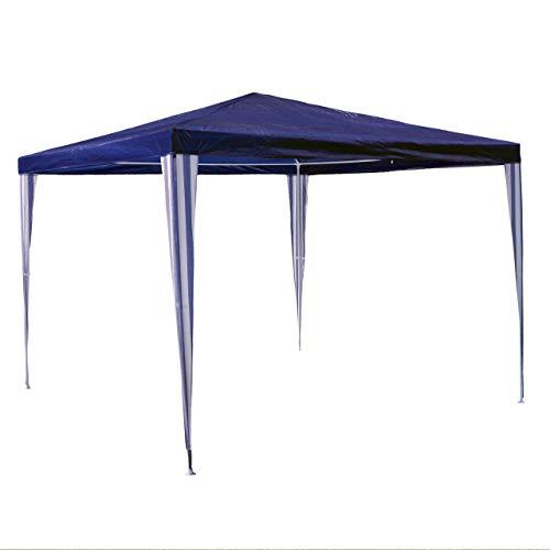 Nexos GM36001 PE-Pavillon Partyzelt für Garten Terrasse Markt Camping Festival als Unterstand und Plane, wasserdicht 3 x 3 m blau