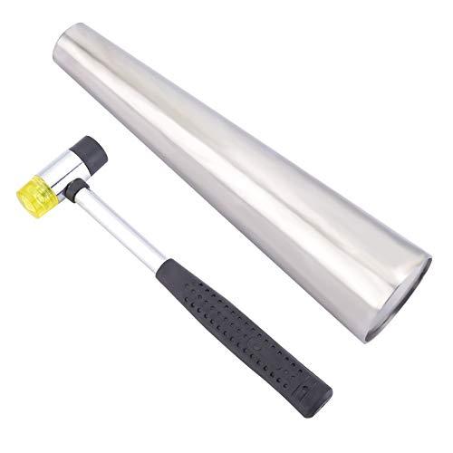 PandaHall Pulsera de metal con mandril y mango de acero instalable de dos vías martillos de goma para hacer joyas, herramienta de formación de metal para hombre y mujer