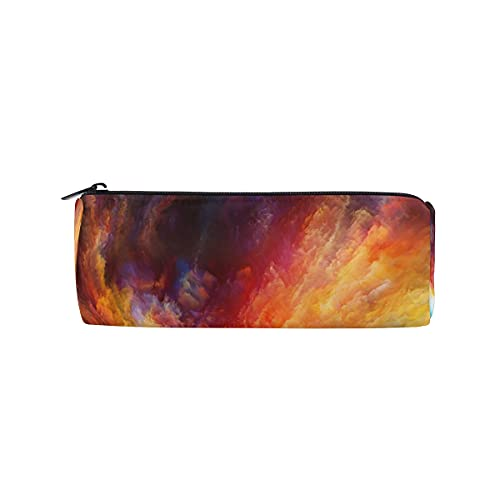 Bolsa de lápices Galaxy Nebulosa patrón espacial estuche de lápiz con forma de cilindro con cremallera para estudiantes escolares, niños y niñas