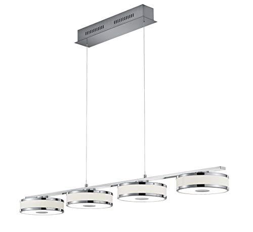 Trio Leuchten Agento 378010407 LED Pendelleuchte, Metall, Stoffschirm, 4 x 7.5 Watt, Nickel Matt/Weiß