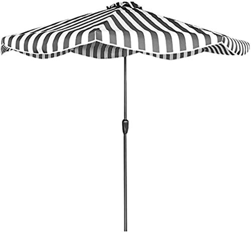 XHPC Garden parasol, Garden P Black White Striped Patio Parasol, 9ft Modern Garden Table Umbrella with 8 Steel Ribs and Crank, Outdoor UV Protection Pool Deck Sunbrella