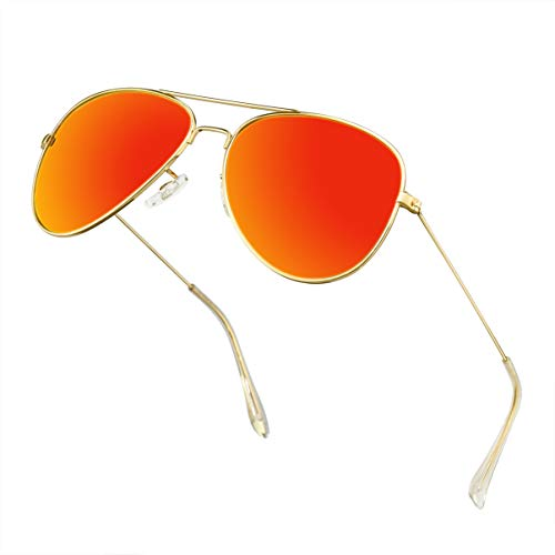 Polarized Aviator Sunglasses for Men Metal Mens Sunglasses Driving Unisex Classic Sun Glasses for Men/Women Orange