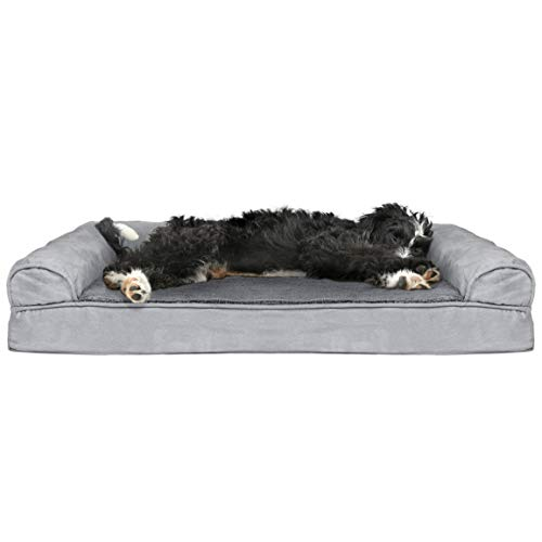 Furhaven Pet Dog Bed - Cooling Gel Memory Foam Ultra Plush Faux Fur and Suede Traditional Sofa-Style Living Room Couch Pet Bed with Removable Cover for Dogs and Cats, Gray, Large