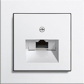 Preisvergleich Produktbild Gira E2 mit Rutenbeck UAE-Anschlussdosen Set 1fach UAE 8 (8) Cat.6a,  1fach Rahmen + Abdeckung reinweiß gl.