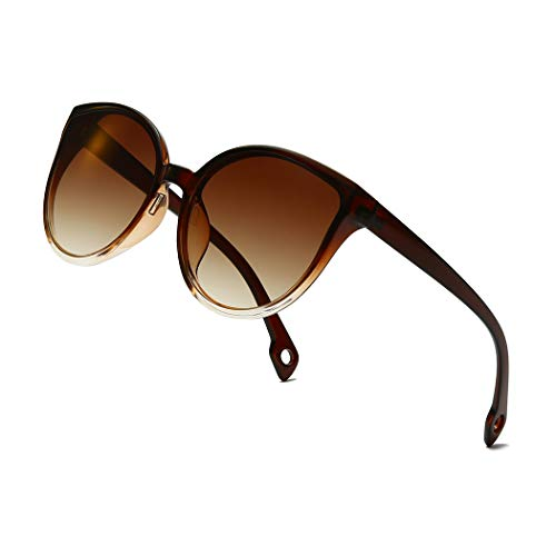 Long Keeper Occhiali da Sole da Donna Retrò Occhiali Vintage Occhi di Gatto Cat Eye Stile Moda Oversize Sunglasses (C1)