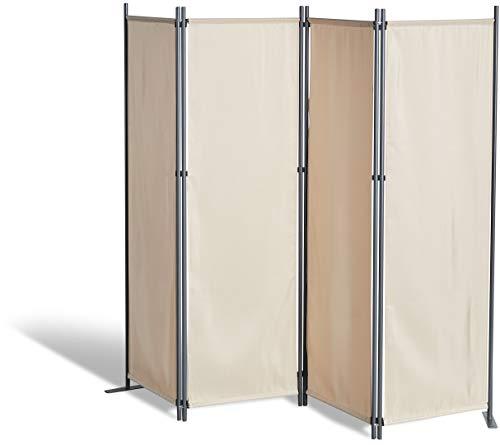 GRASEKAMP Qualität seit 1972 Paravent 4 teilig Beige Raumteiler Trennwand Sichtschutz Balkontrennung