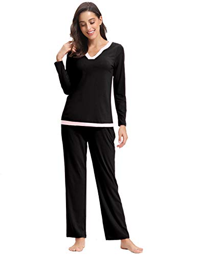 Aibrou Pijamas Mujer Algodon 2 Piezas Conjuntos Sexy